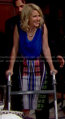 Caroline's blue top and mixed pattern pencil skirt on The Bold and the Beautiful
