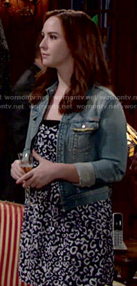 Cassie's blue leopard print dress on The Young and the Restless
