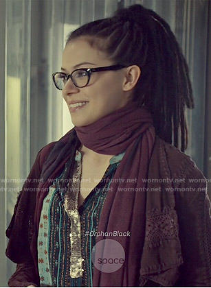 Cosima's printed top with sequinned placket on Orphan Black