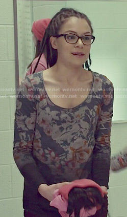 Cosima's floral dip-dyed top on Orphan Black