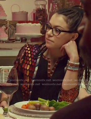 Cosima's mixed pattern top on Orphan Black