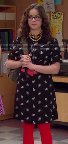 Delia's black and white paisley dress on I Didn't Do It