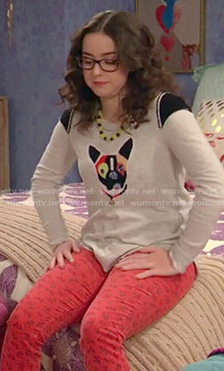 Delia's dog sweater and floral red jeans on I Didn't Do It