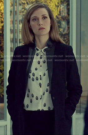 Delphine's black and white printed blouse on Orphan Black