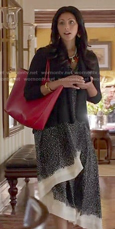 Divya's black printed midi dress on Royal Pains