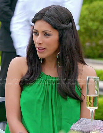 Divya's green halter dress on Royal Pains