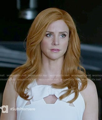 Donna's white bow cutout dress on Suits