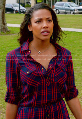 Eva's red and blue plaid shirtdress on Under the Dome
