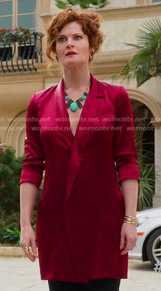 Evelyn's long red blazer on Devious Maids
