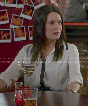 Frankie's white blouse with black trim on Community