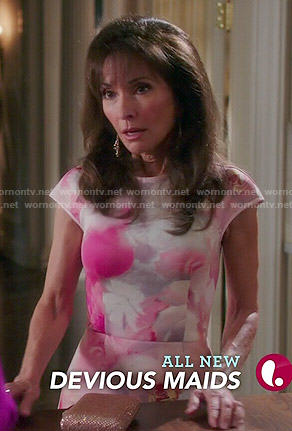 Genevieve's pink floral dress on Devious Maids