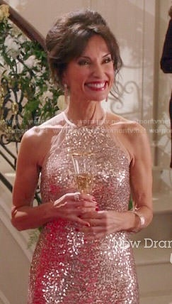 Genevieve's sequinned halter neck dress on Devious Maids