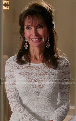 Genevieve's white lace stripe peplum top on Devious Maids