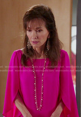 Genevieve's pink cascade sleeve blouse on Devious Maids