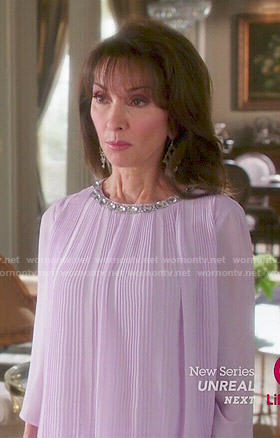 Genevieve's purple pleated blouse with jewelled neckline on Devious Maids