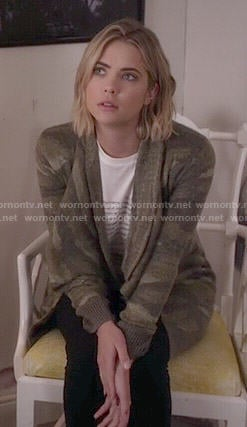 Hanna's romantic tee and camo cardigan on Pretty Little Liars