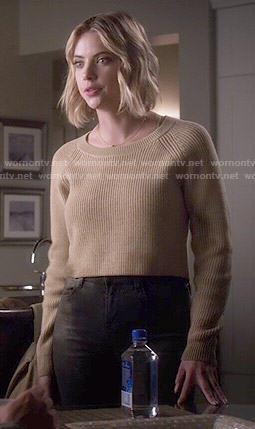 Hanna's tan cropped sweater on Pretty Little Liars