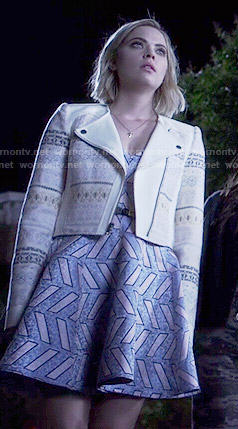 Hanna's blue and pink patterned dress and embroidered moto jacket on Pretty Little Liars