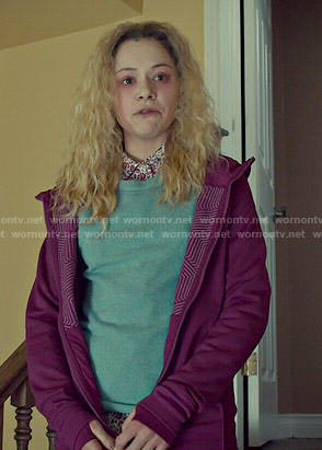 Helena's floral shirt, blue knit shell and magenta jacket on Orphan Black