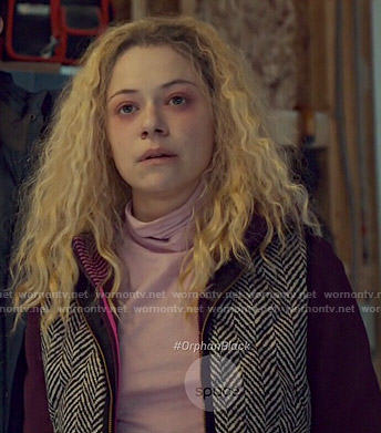 Helena's pink turtleneck and herringbone vest on Orphan Black