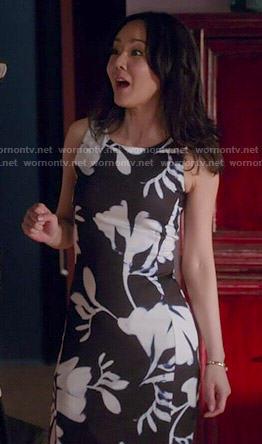 Karen's black and white floral dress on Mistresses
