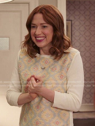 Kimmy's cream ikat sweater on Unbreakable Kimmy Schmidt