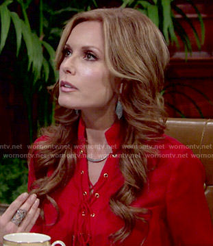 Lauren's red lace-up blouse on The Young and the Restless