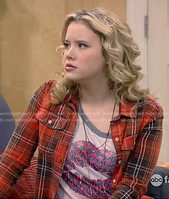 Lennox's houndstooth lips top and plaid shirt on Melissa and Joey