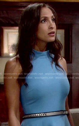 Lily's blue mock-neck dress on The Young and the Restless