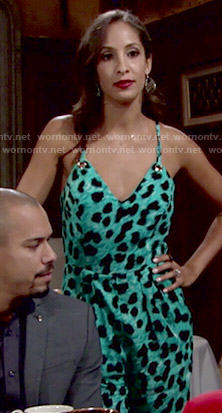 Lily's aqua leopard print jumpsuit on The Young and the Restless