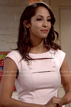 Lily's light pink cutout dress on The Young and the Restless