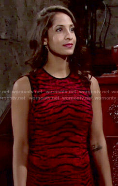 Lily's red tiger dress on The Young and the Restless