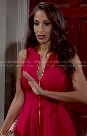 Lily's red zip front dress on The Young and the Restless