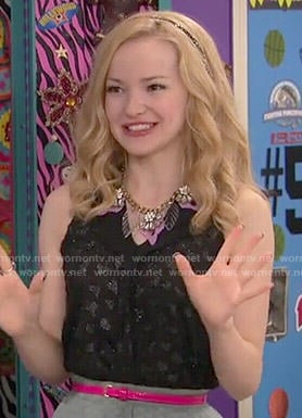 Liv's black glitter hearts top and grey pleated skirt on Liv and Maddie