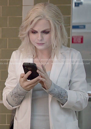 Liv's grey embroidered cuff top on iZombie