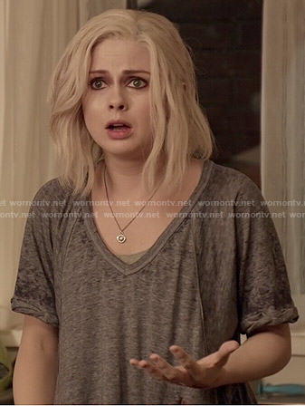 Liv's grey v-neck t-shirt on iZombie
