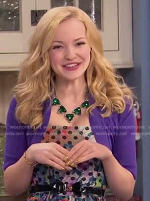 Liv's polka dot dress and purple shrug on Liv and Maddie