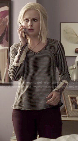 Liv's striped henley top with crochet sleeves on iZombie