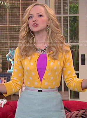 Liv's yellow polka dot cardigan and mint skirt on Liv and Maddie