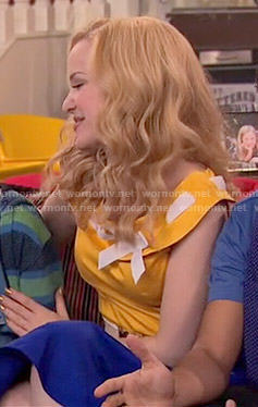 Liv's yellow ribbon-neck top on Liv and Maddie