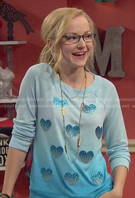 Maddie's blue ombre heart sweatshirt on Liv and Maddie