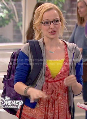 Maddie's red printed top on Liv and Maddie