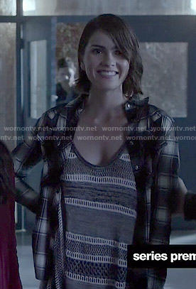 Malia's grey striped knit tank top and plaid shirt on Teen Wolf