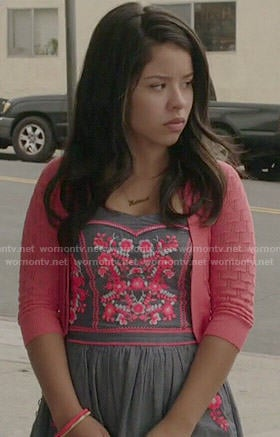 Mariana's floral embroidered dress on The Fosters