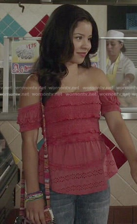Mariana's pink ruffled off-shoulder top on The Fosters