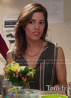 Marisol's vertical striped sleeveless blouse on Devious Maids