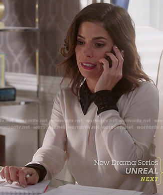 Marisol's white blouse with black collar on Devious Maids