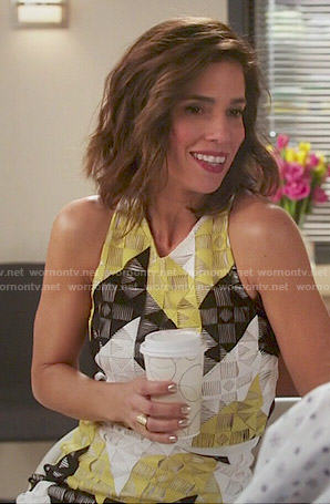 Marisol's yellow geometric patterned crop top and skirt set on Devious Maids