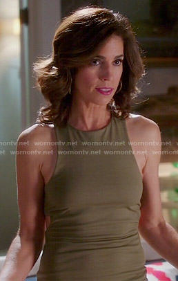 Marisol's khaki green dress with cutouts on Devious Maids