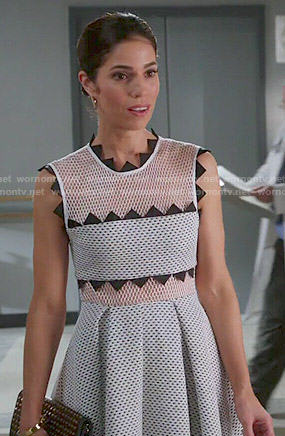 Marisol's white mesh dress with triangle trim on Devious Maids